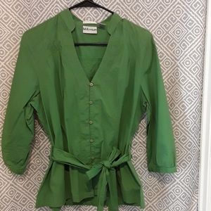 Womens Green top Blouse with Belt size XL